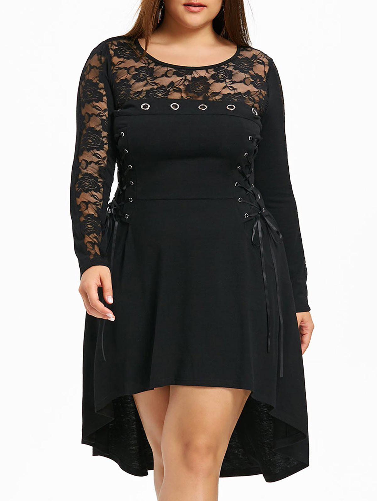 цены Plus Size Lace Trim Dip Hem Dress