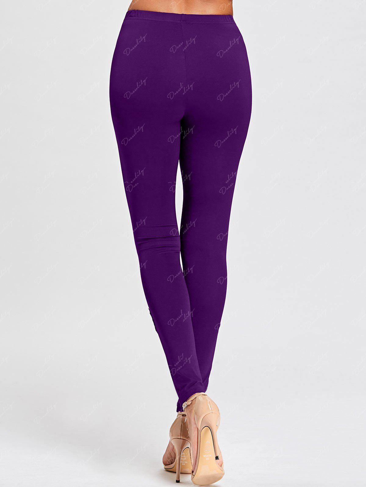Tight Hollow Out Lace Panel Leggings - PURPLE XL