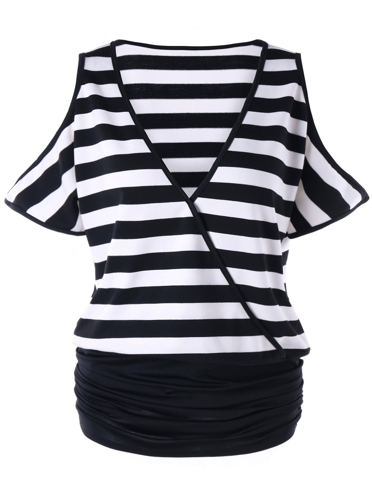 Plus Size Open Shoulder Ruched Striped T-shirt mesh open shoulder side ruched lattice top