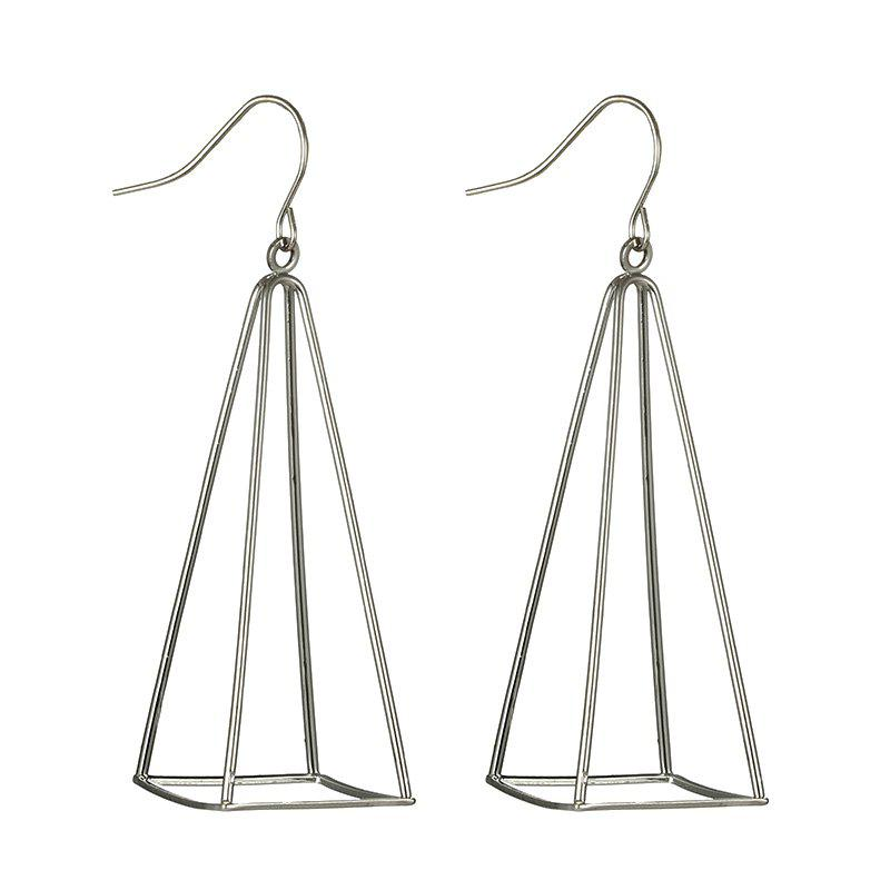 Hollow Out Triangle Geometric Drop Earrings - SILVER