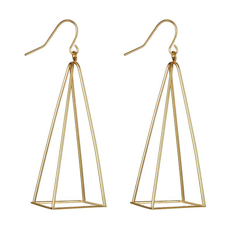 Hollow Out Triangle Geometric Drop Earrings - GOLDEN