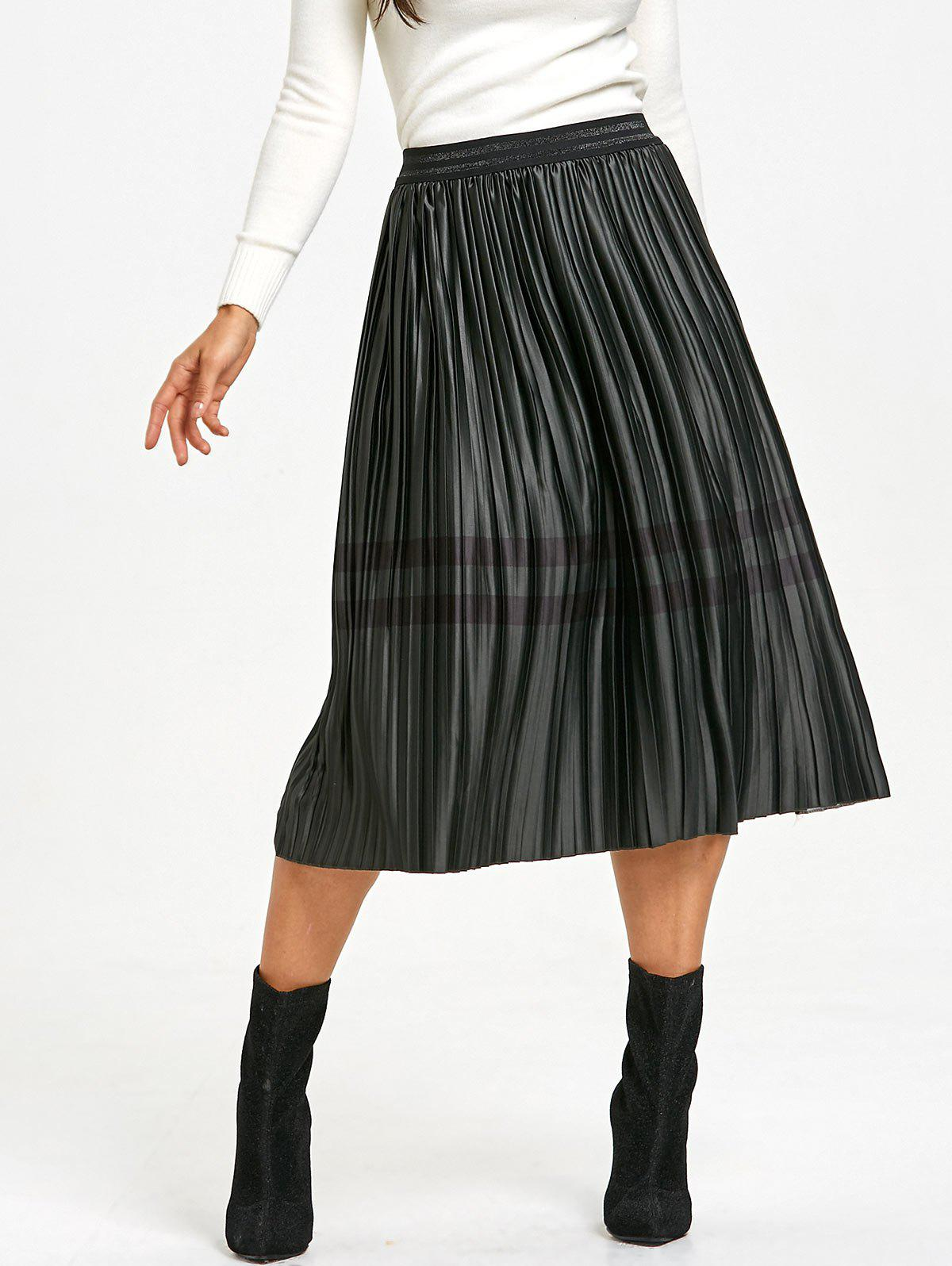 Pleated Striped Elastic Waist Skirt - BLACKISH GREEN XS