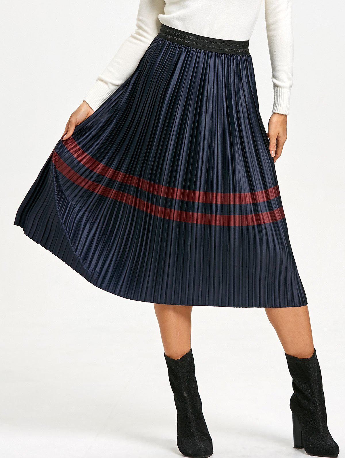 Pleated Striped Elastic Waist Skirt - PURPLISH BLUE L
