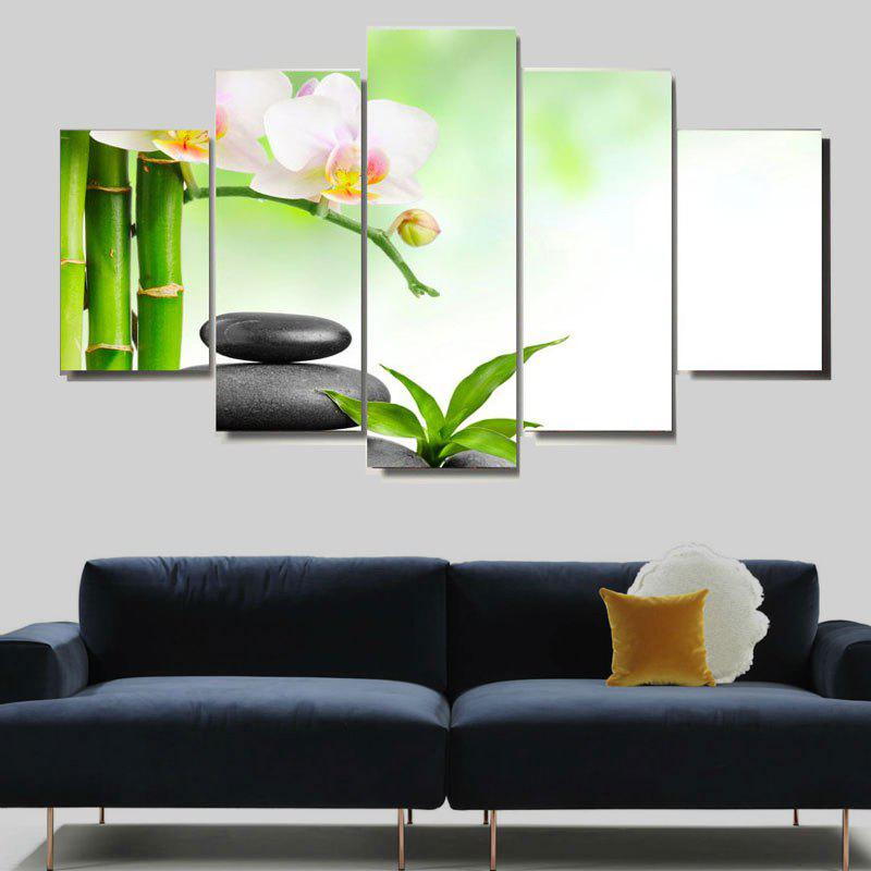 Bamboo Pool Landscape Pattern Unframed Canvas Paintings - GREEN 1PC:8*20,2PCS:8*12,2PCS:8*16 INCH( NO FRAME )