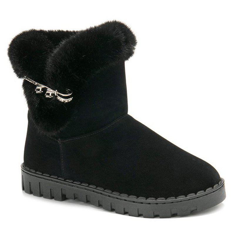 Slip On Low Heel Metal Snow Boots