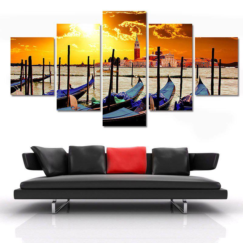 Seaside Sunset Printed Split Unframed Canvas Paintings wall art sunset pyramids printed unframed canvas paintings