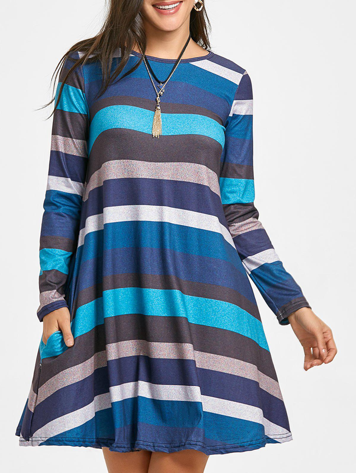 2018 A-line Colored Stripes Long Sleeve Dress BLUE L In Long Sleeve ...