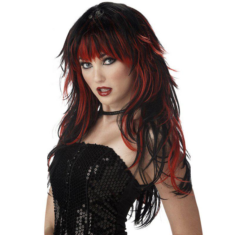 Long Neat Bang Colormix Layered Natural Straight Witch Cosplay Synthetic Wig - DRAK WINE RED OMBRE