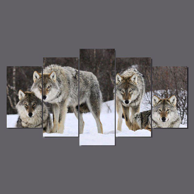Snow Wolves Printed Unframed Canvas Paintings burning guitar pattern unframed wall art canvas paintings