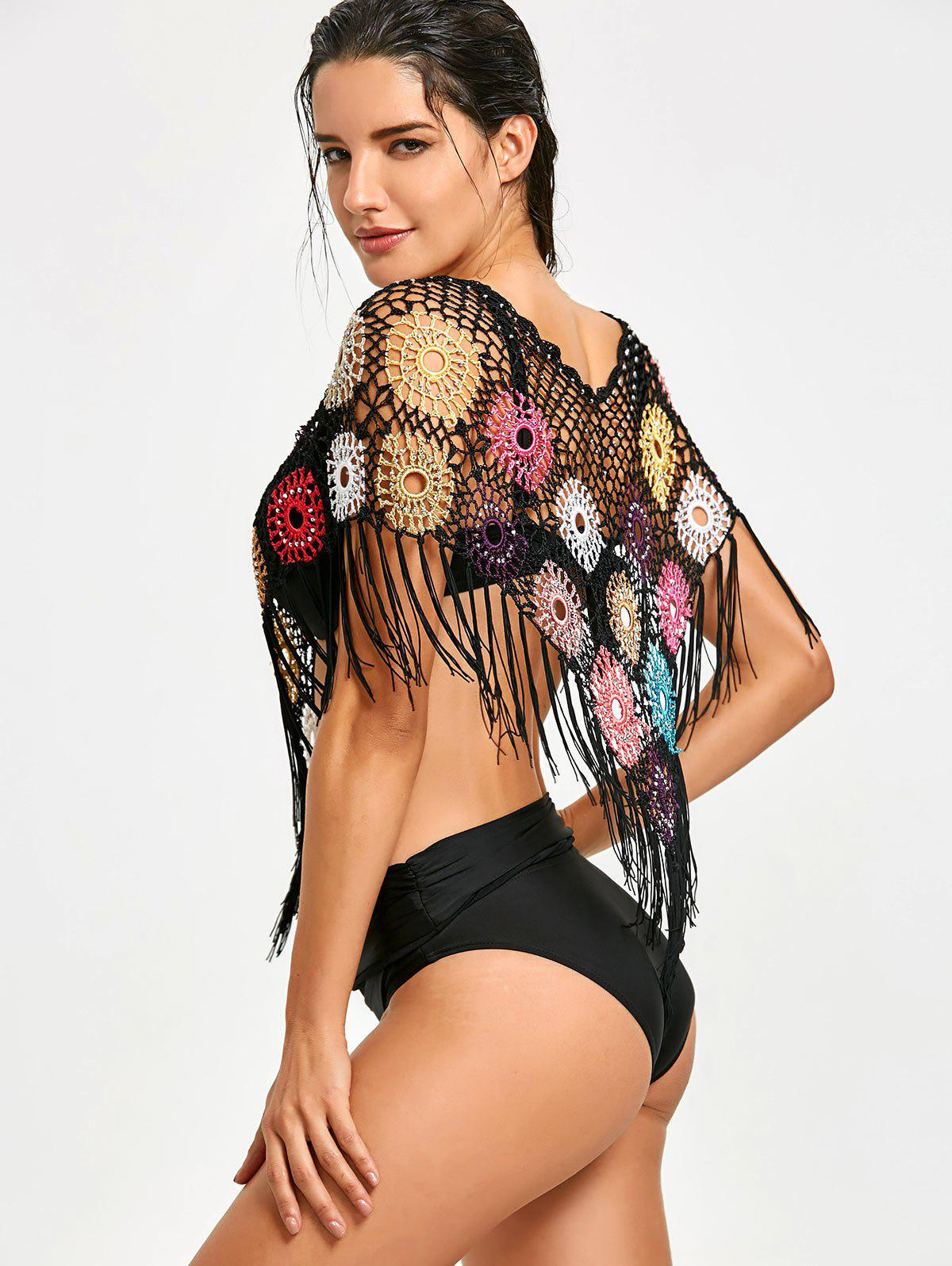 Beading Crochet Cover Up with Fringes - BLACK ONE SIZE