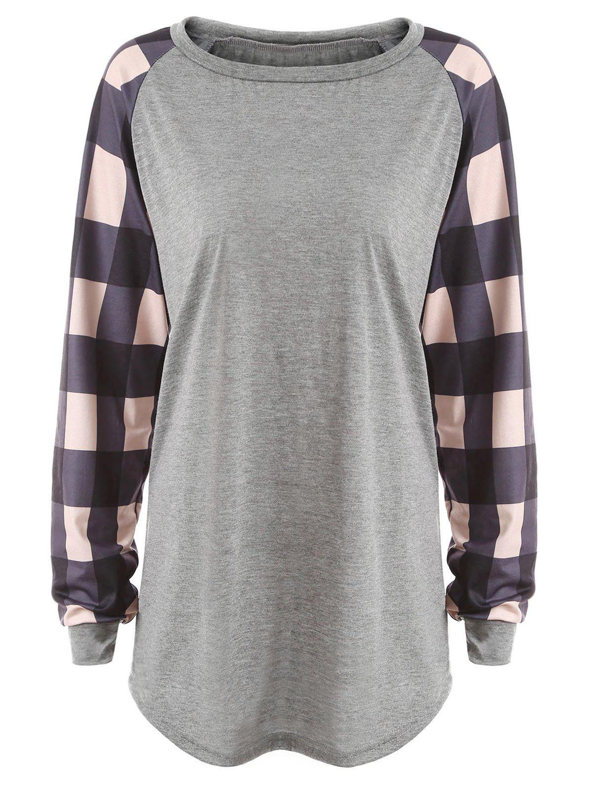 Plus Size Plaid Panel Raglan Sleeve T-shirt stripe panel raglan sleeve t shirt