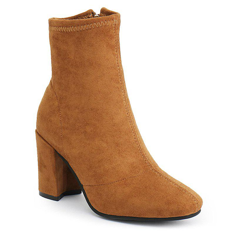 Almond Toe Side Zip Ankle Boots - BROWN 40