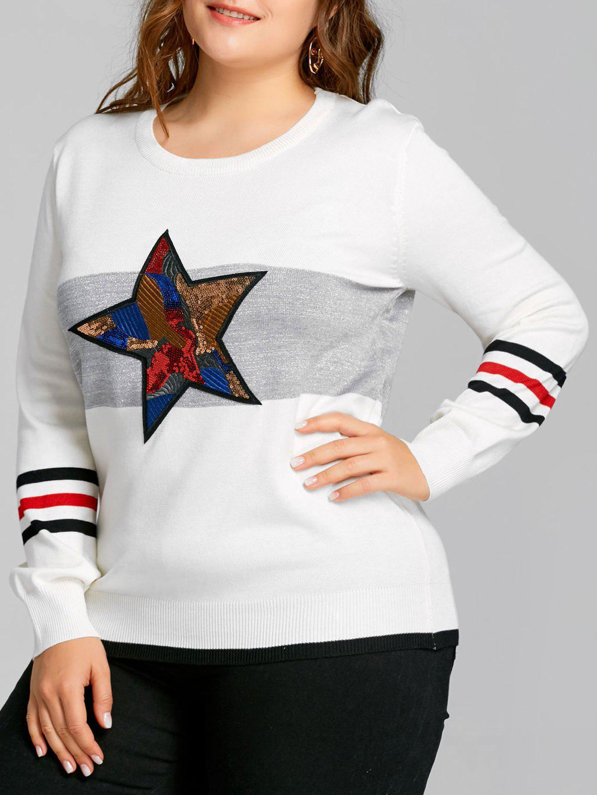 Sequined Star Striped Plus Size Sweater - WHITE ONE SIZE