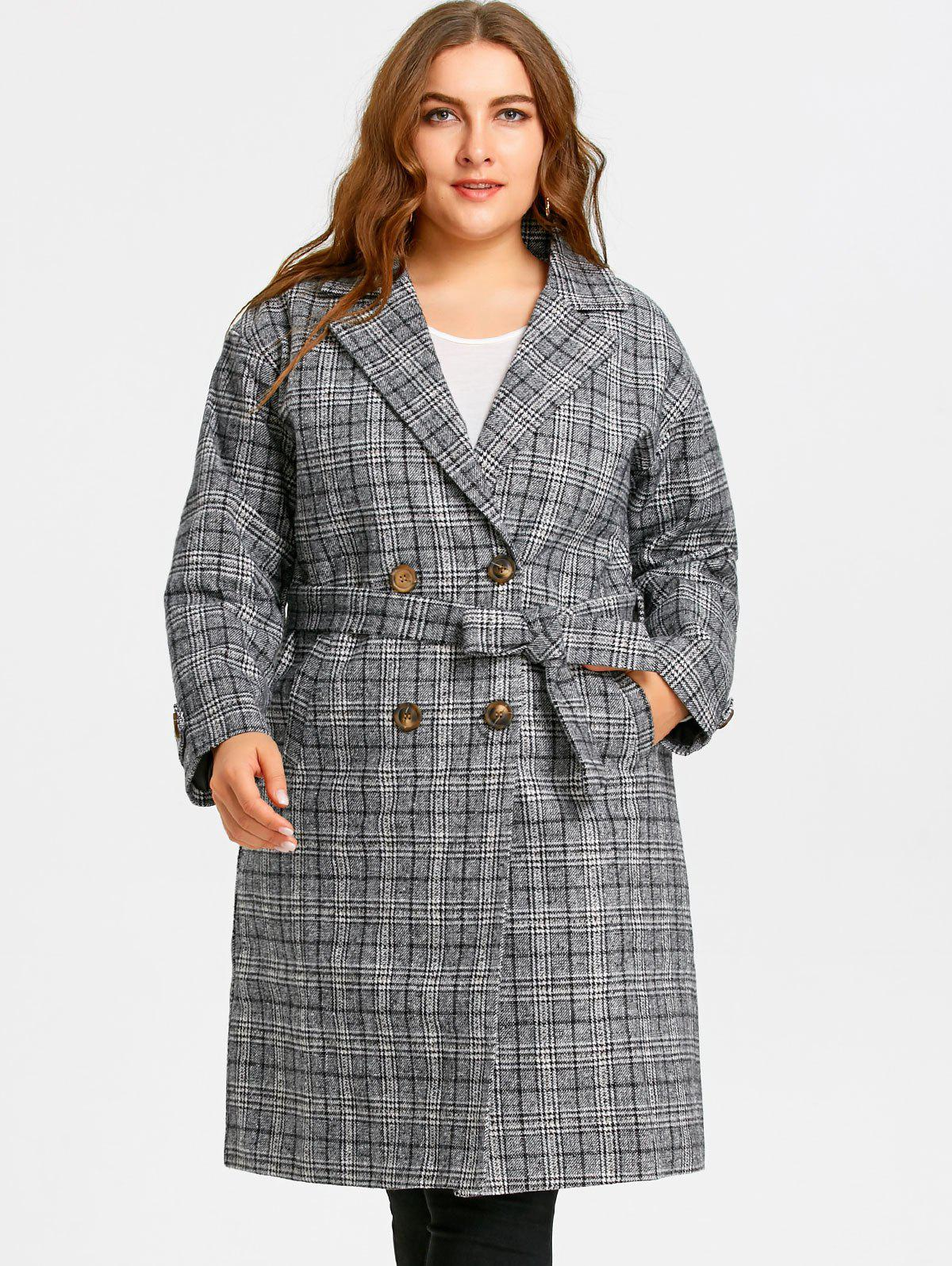 Drop Shoulder Plaid Tweed Plus Size Coat - BLACK 5XL