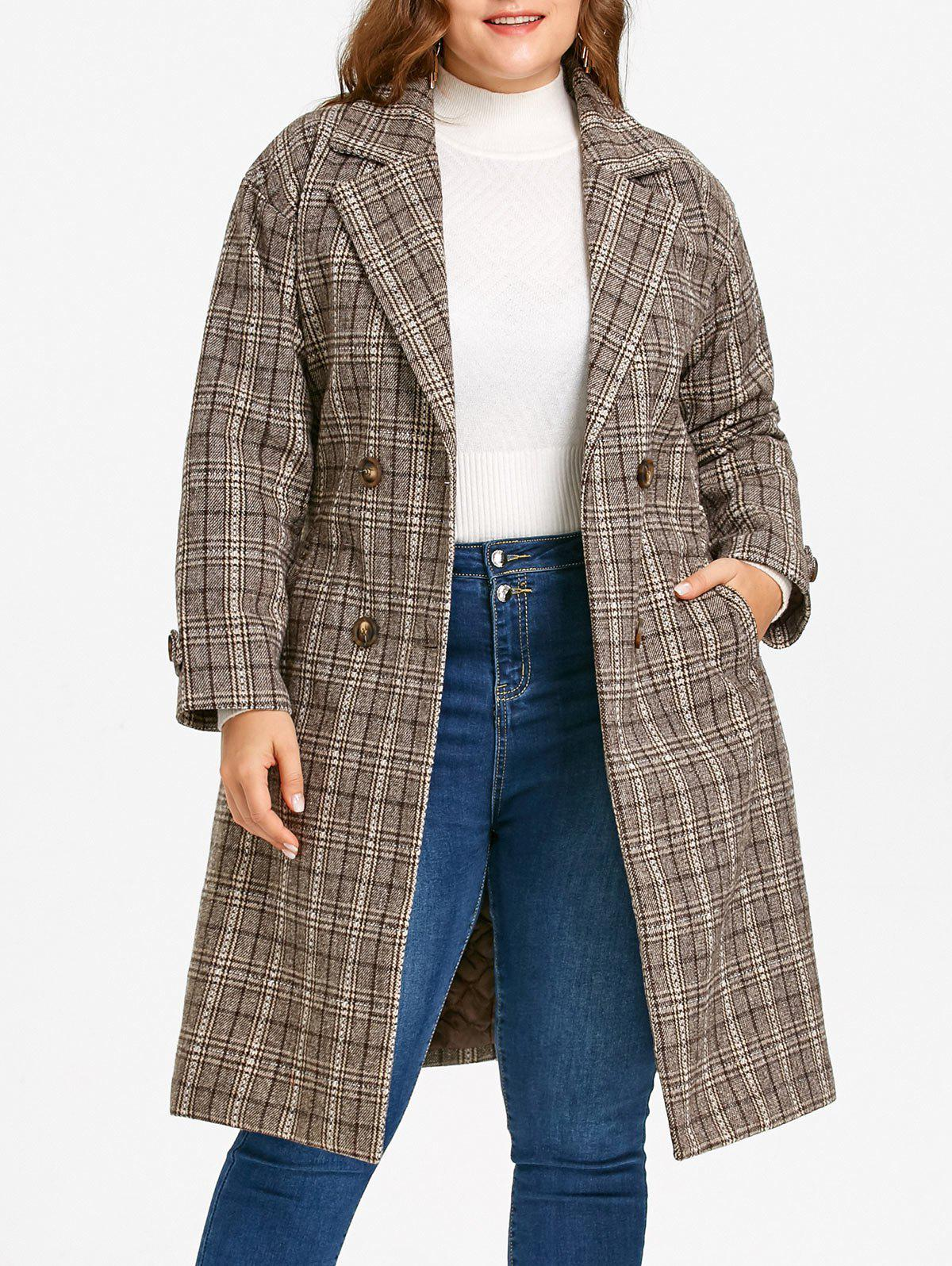 Drop Shoulder Plaid Tweed Plus Size Coat - COFFEE 5XL
