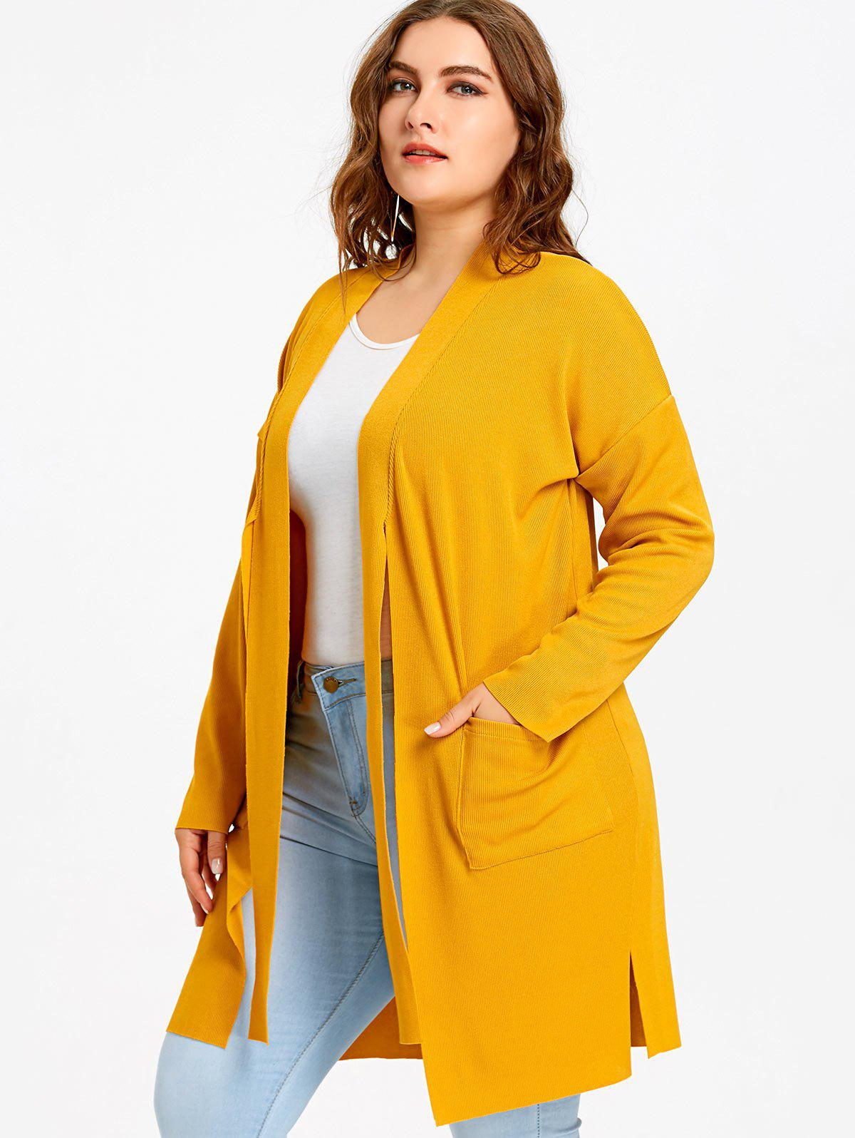 Plus Size Drop Shoulder Side Slit Knitted Coat - YELLOW ONE SIZE