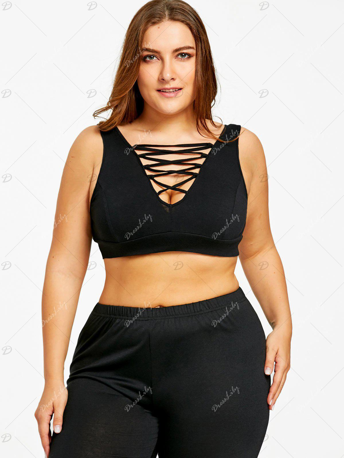 Plus Size Criss Cross Camisole Bra - BLACK XL