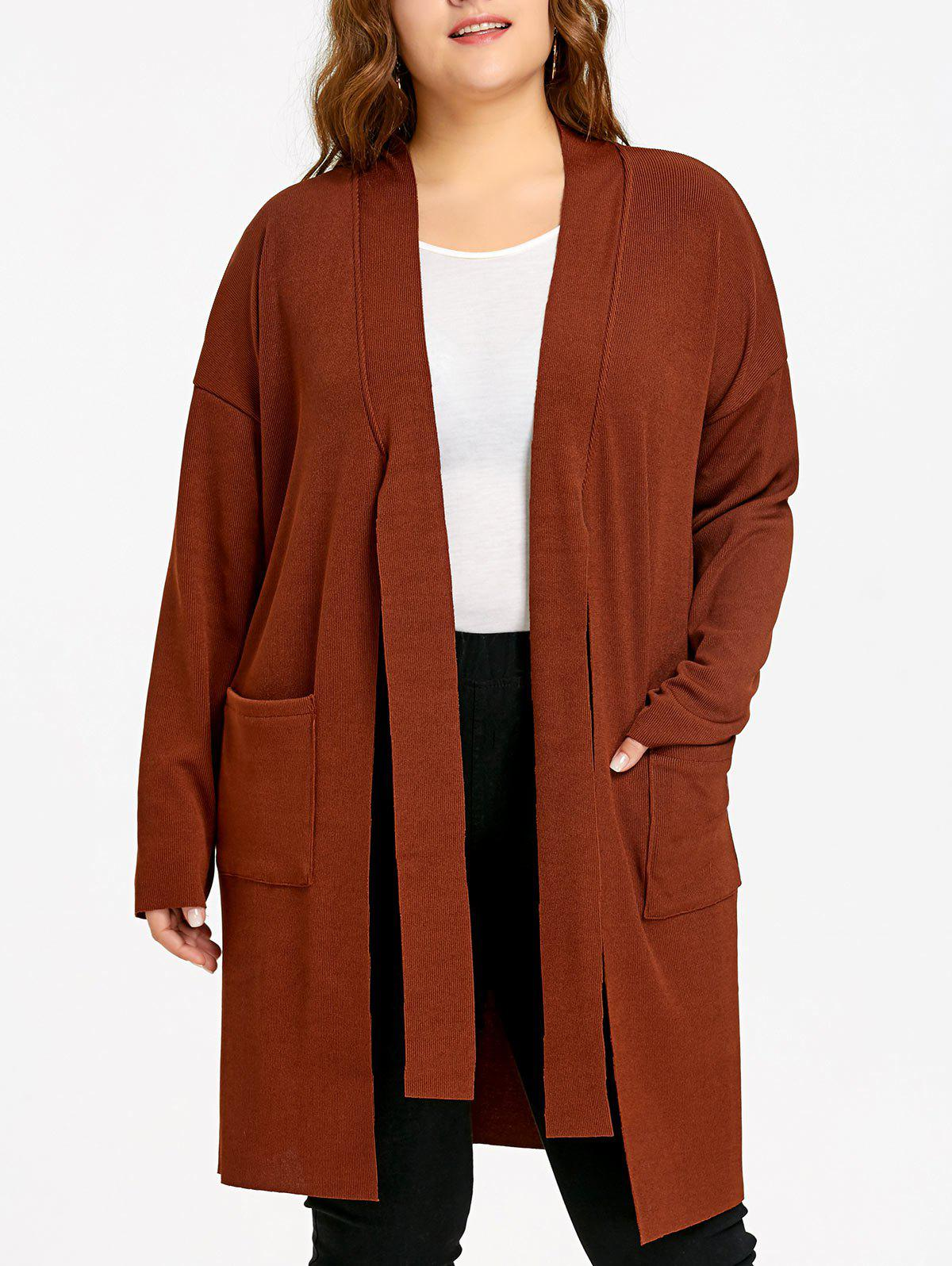 Plus Size Drop Shoulder Side Slit Knitted Coat - SUGAR HONEY ONE SIZE