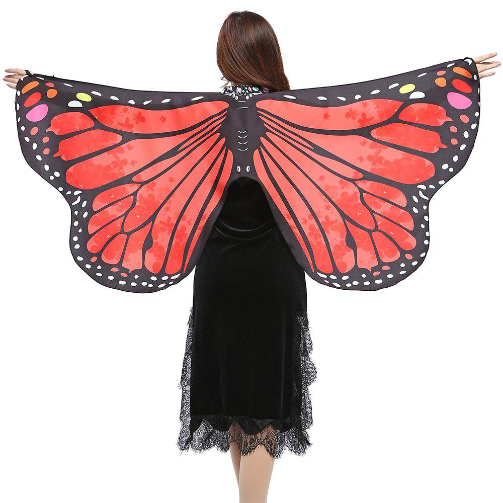 Elegant Butterfly Shape Chiffon Long Shawl Scarf - BRIGHT RED