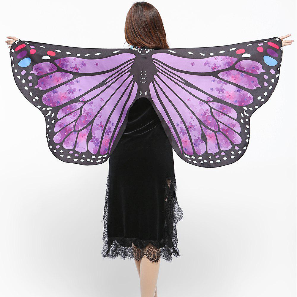 Elegant Butterfly Shape Chiffon Long Shawl Scarf - BRIGHT PURPLE