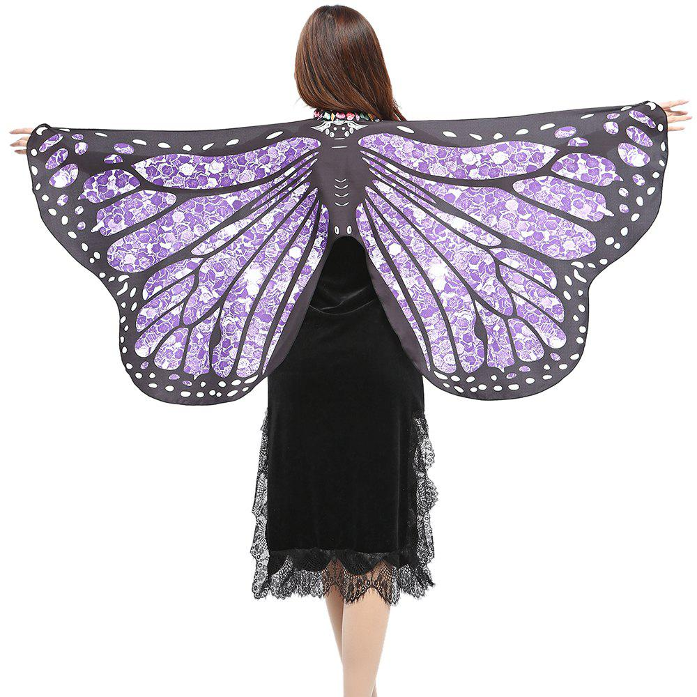 Elegant Butterfly Shape Chiffon Long Shawl Scarf - PURPLE