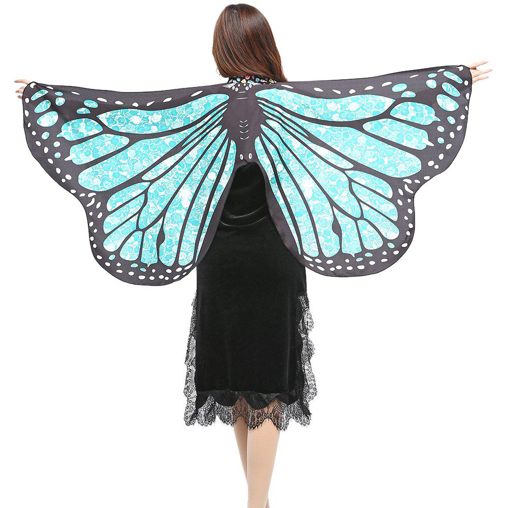 Elegant Butterfly Shape Chiffon Long Shawl Scarf - LIGHT BLUE