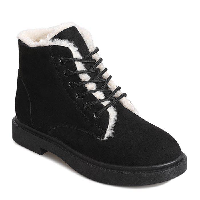 Lace Up Faux Fur Lined Ankle Boots - BLACK 38