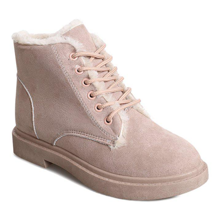 Lace Up Faux Fur Lined Ankle Boots - APRICOT 37