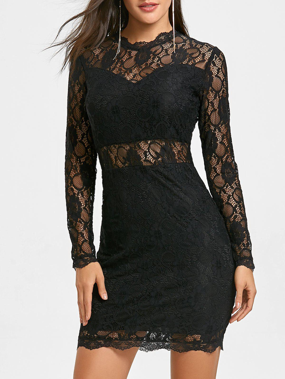Lace Mock Neck Bodycon Dress - BLACK M