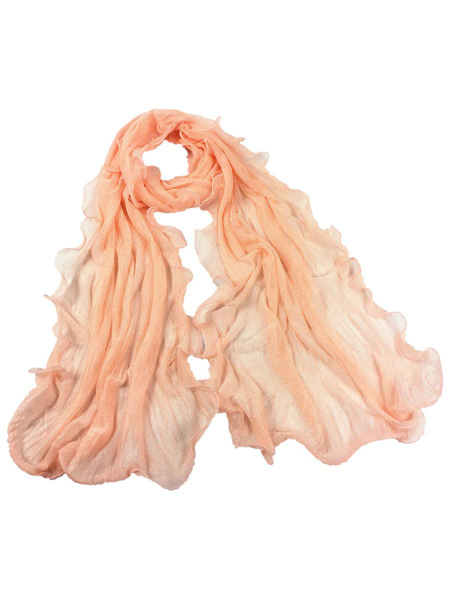 Soft Wrinkle Shimmer Long Shawl Scarf - MELON YELLOW