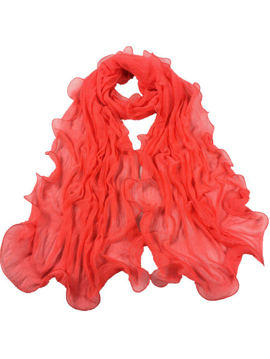 Soft Wrinkle Shimmer Long Shawl Scarf - WATERMELON RED