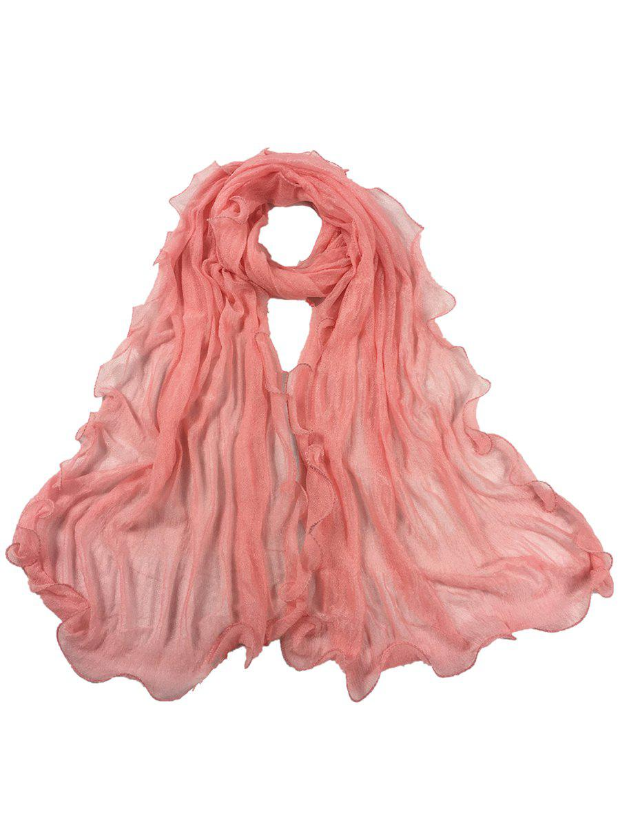 Soft Wrinkle Shimmer Long Shawl Scarf - PEONY PINK