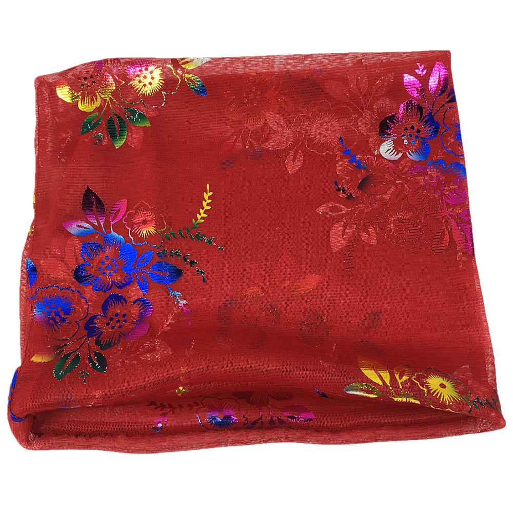 Vintage Flowers Embroidery Embellished Infinity Sheer Scarf - BRIGHT RED