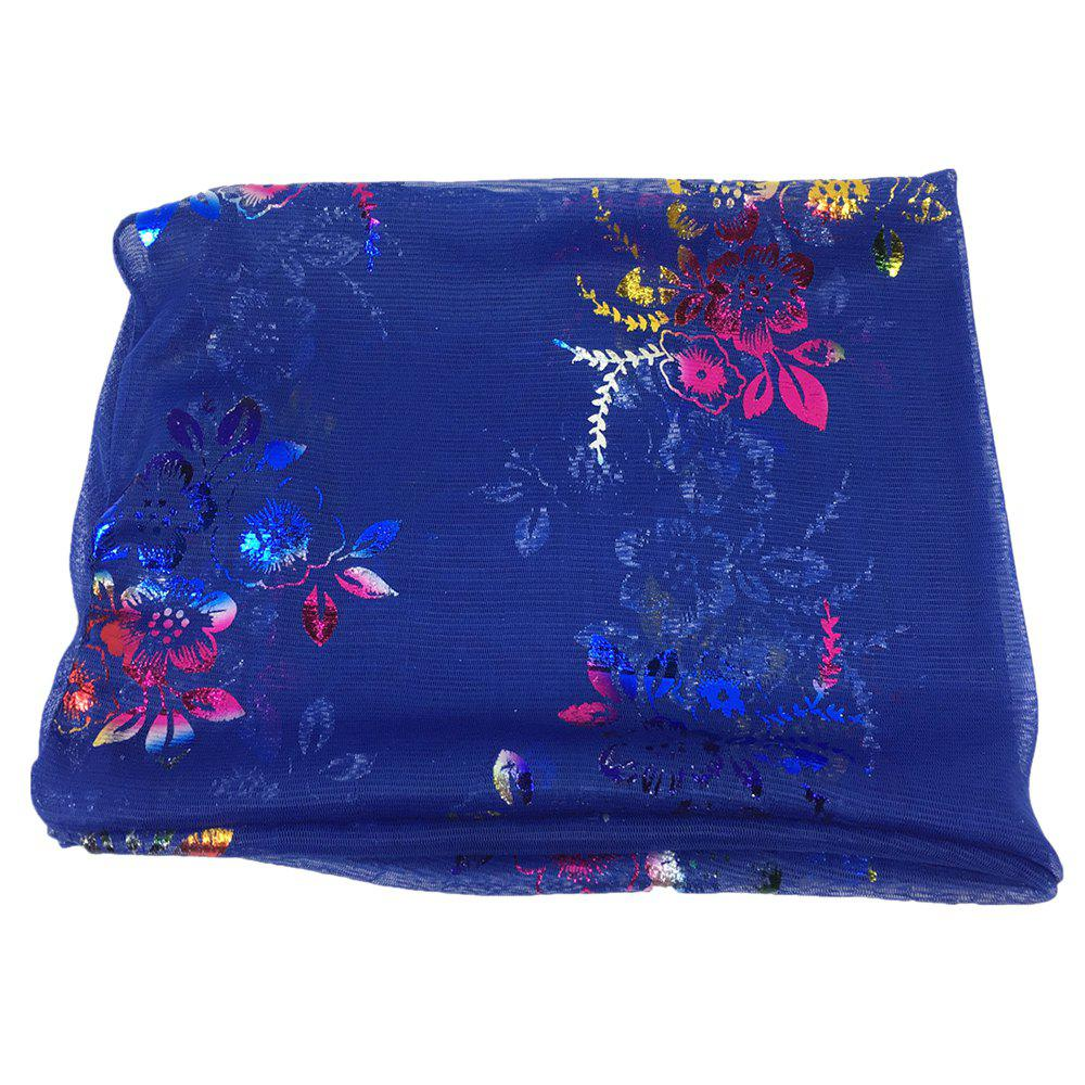 Vintage Flowers Embroidery Embellished Infinity Sheer Scarf - ROYAL