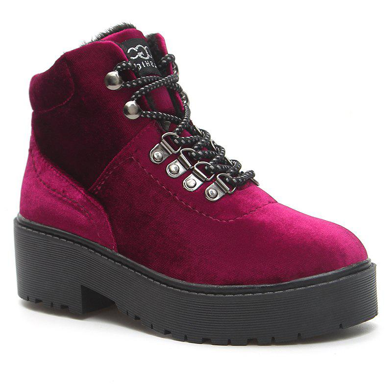 Platform Lug Sole Velvet Ankle Boots - WINE RED 35