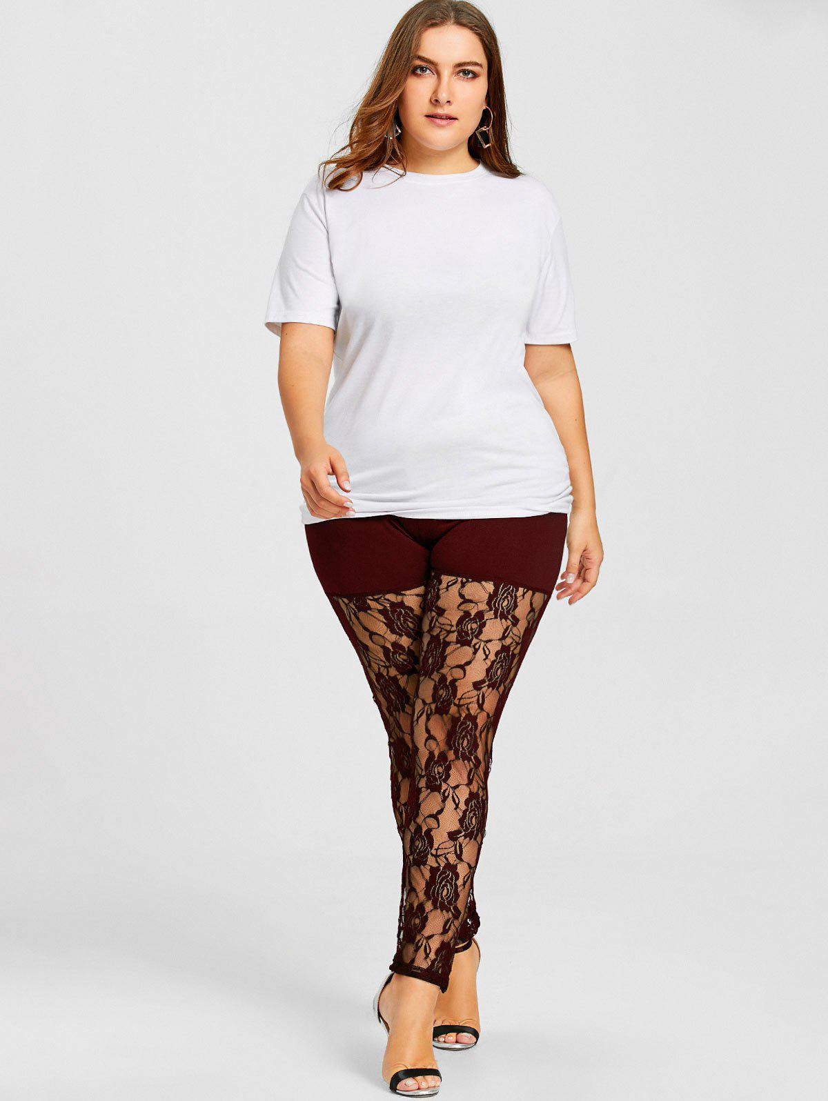 Sheer Lace Panel Plus Size Leggings - WINE RED XL