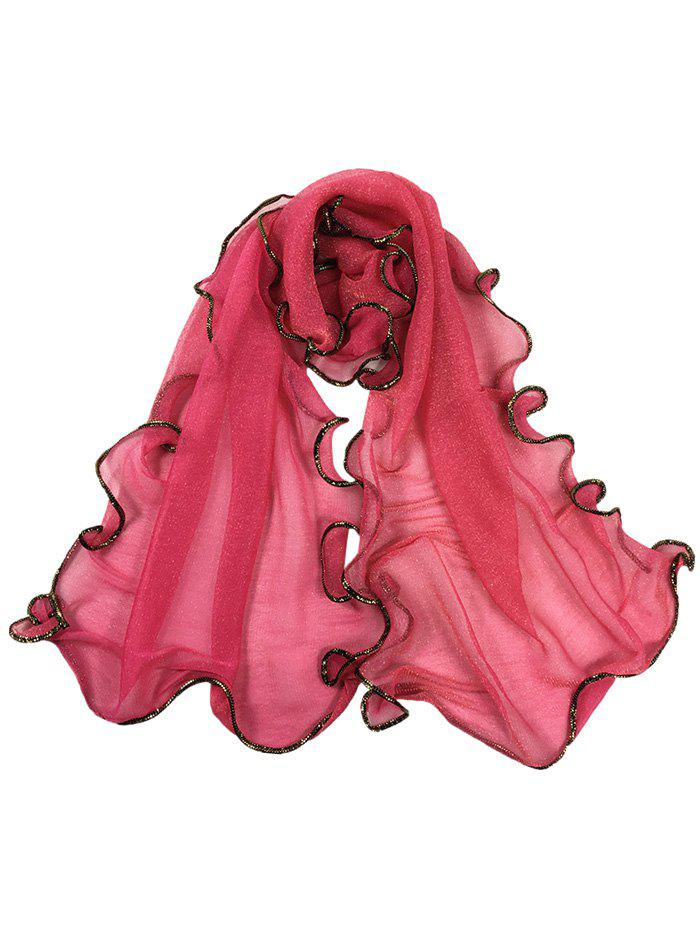 Vintage Golden Brim Shimmer Long Scarf - WATERMELON RED