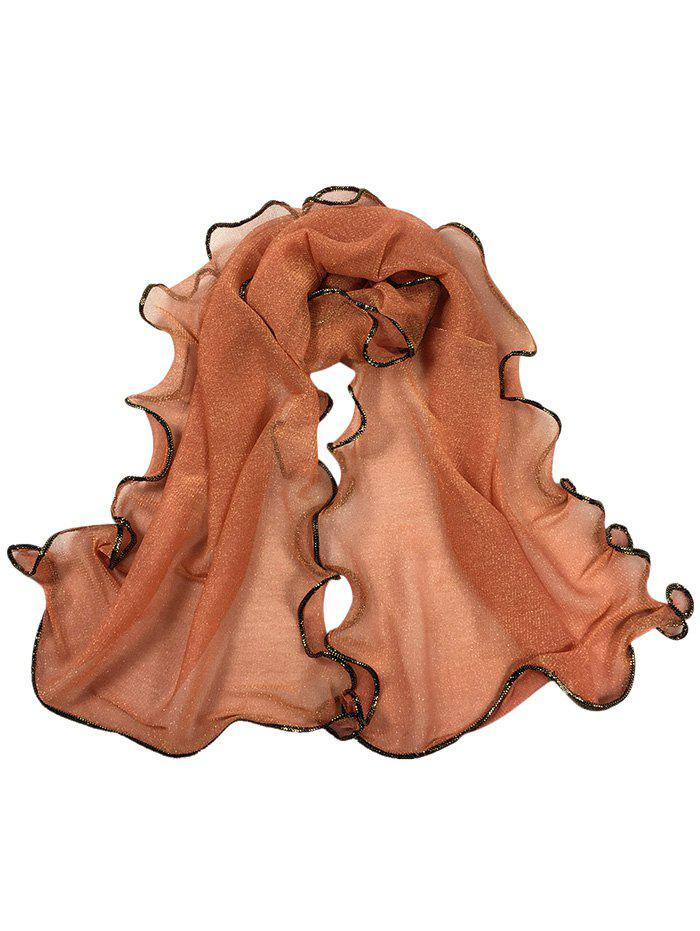 Vintage Golden Brim Shimmer Long Scarf - COFFEE