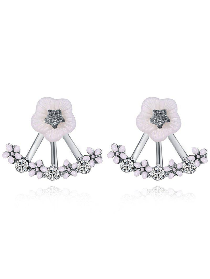 Faux Crystal Floral Hollow Out Stud Earrings hollow out round faux crystal metal necklace