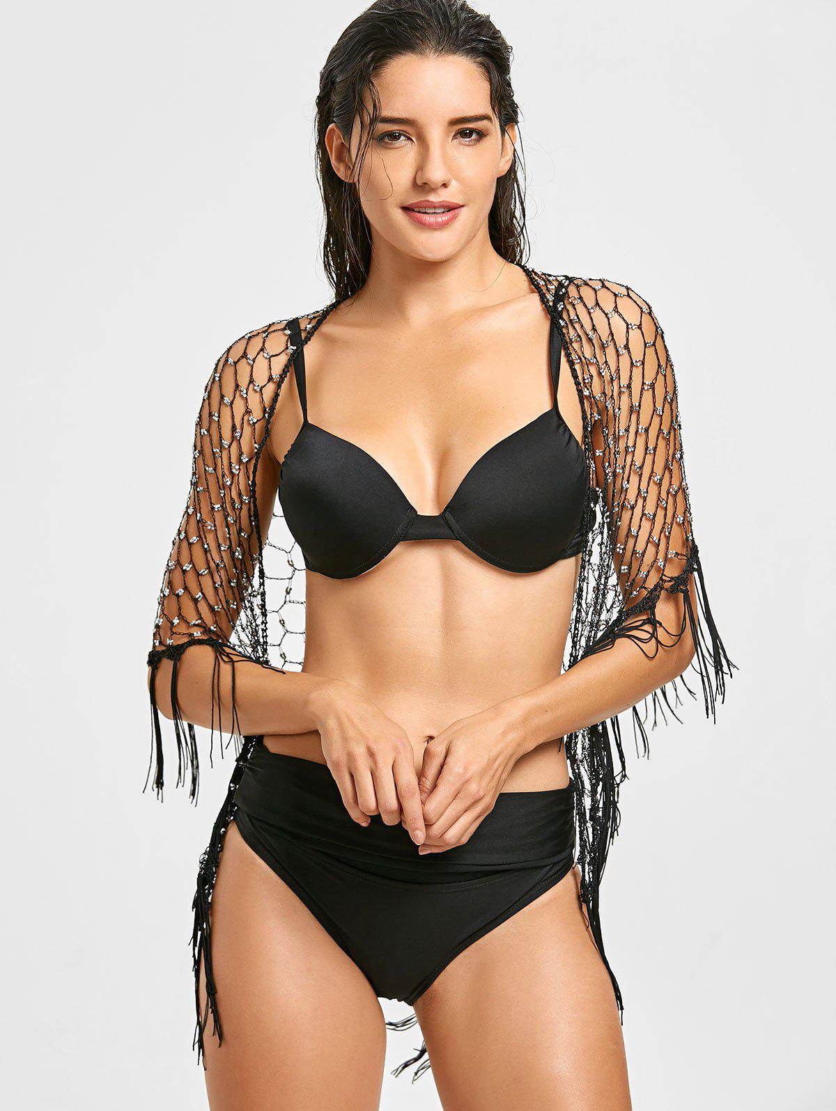 Beading Crochet Fringed Beach Cover Up - BLACK ONE SIZE