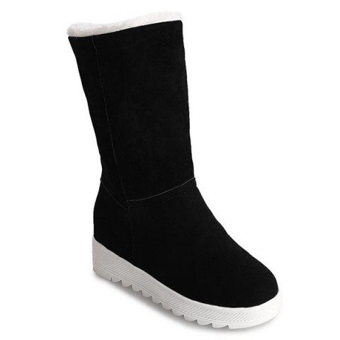 Fold Over Stitching Mid Calf Boots - BLACK 35