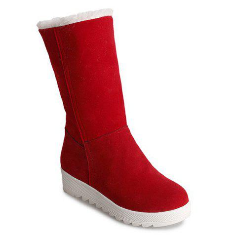 Fold Over Stitching Mid Calf Boots - RED 36