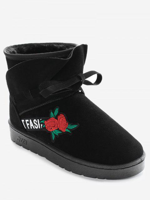 Bow Tie Floral Embroidered Ankle Boots - BLACK 36