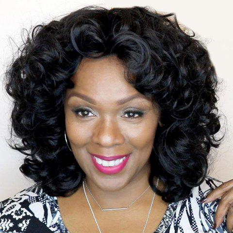 Medium Inclined Fringe Fluffy Curly Synthetic Wig - BLACK