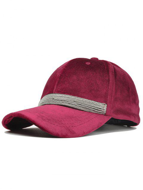 Beaded Chain Decorated Corduroy Adjustable Baseball Hat - WINE RED