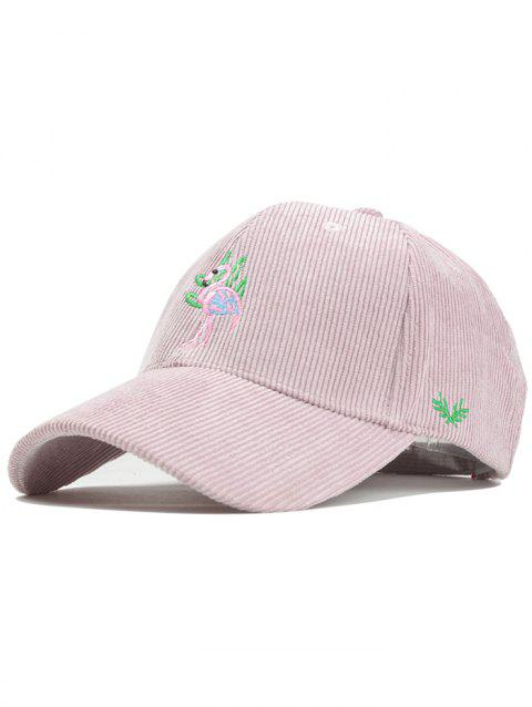 Vintage Phoenix Bird Embroidery Corduroy Graphic Hat - PINK