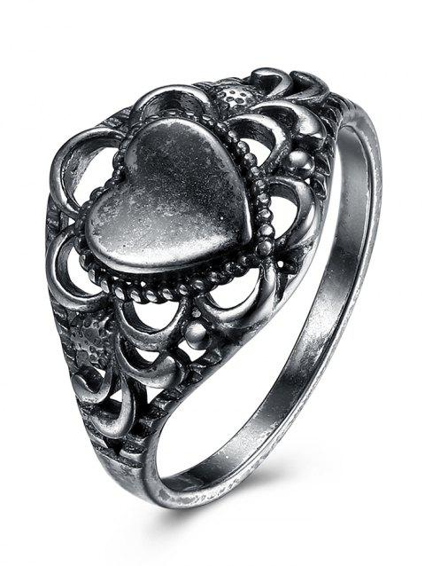Retro Alloy Heart Finger Ring - SILVER 8