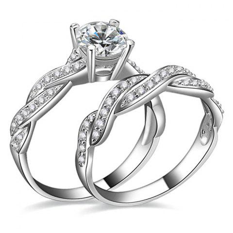 Artificial Diamond Couple Rings - SILVER 7