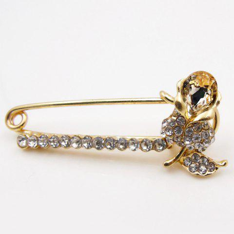 Flower Artificial Diamond Brooch Pin - CHAMPAGNE