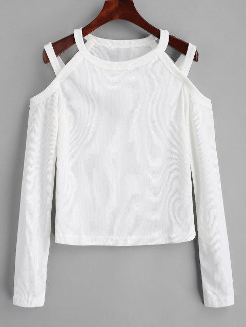 Ribbed Cold Shoulder Knitted Top - WHITE M